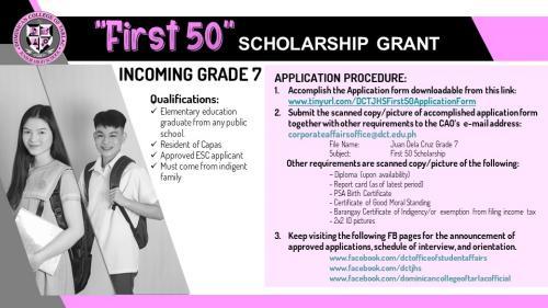 """First 50"" Scholarship For Junior High School"