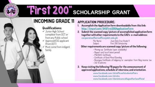 """First 200"" Scholarship for Senior High School"