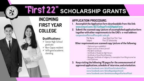 """""""First 22"""" Scholarship For College"""